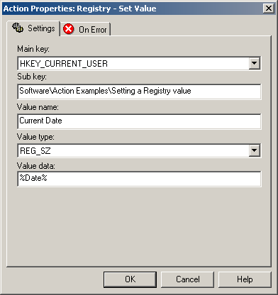 Setting a Registry value